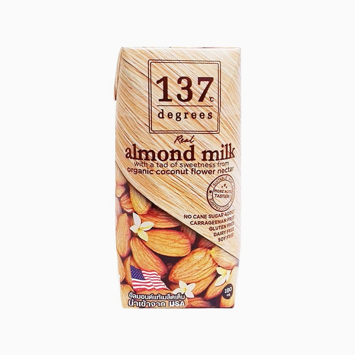 Молоко миндальное с нектаром кокосовых соцветий, 137 Degrees, 180 мл