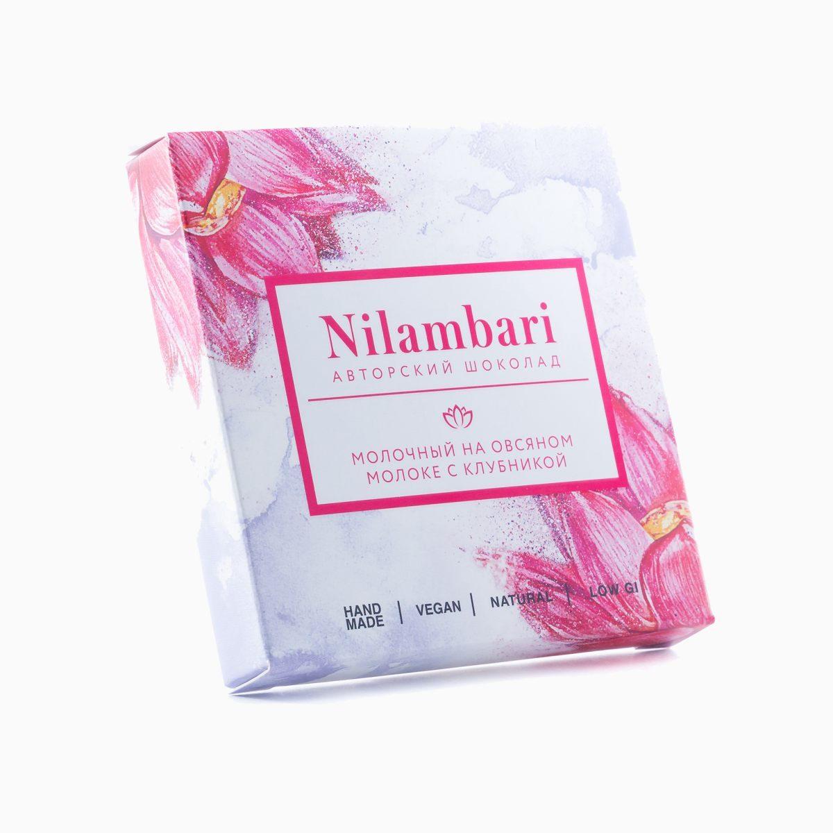 Шоколад молочный на овсяном молоке с клубникой, Nilambari, 65 г