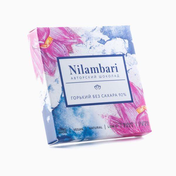 Шоколад горький без сахара 92%, Nilambari, 65 г