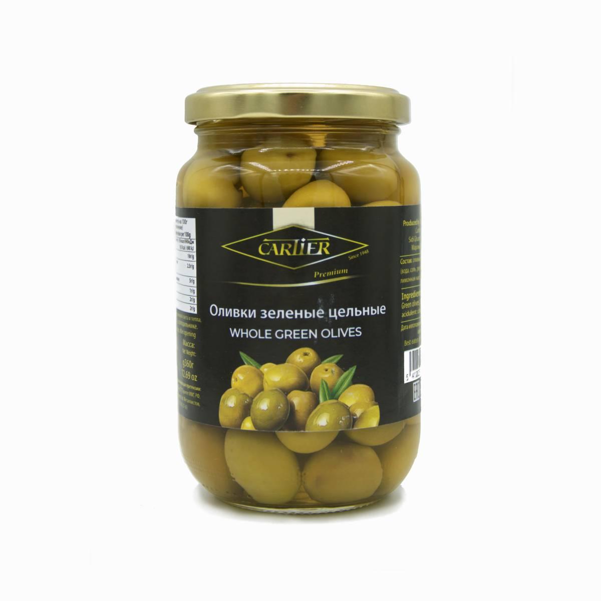 Оливки зелёные с косточкой, Cartier, 360 г